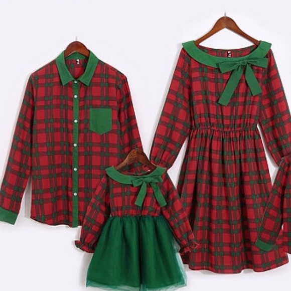 PopReal Mommy and Me Dresses Vintage Velvet Christmas Long Sleeve Stretchy Matching Outfits